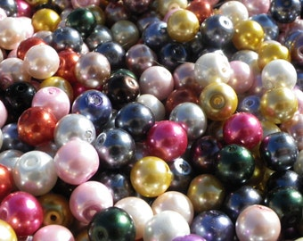 100 beads 10 mm glass Pearl 10 mm in any color mix