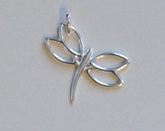 Sterling Silver Dragonfly Charm, Dragonfly Pendant, 25x18mm, Fast Shipping from USA