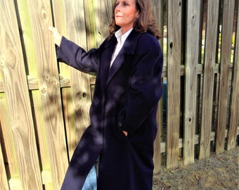 NEW PRICE -Vintage Navy Wool Double Breasted Long Maxi Coat