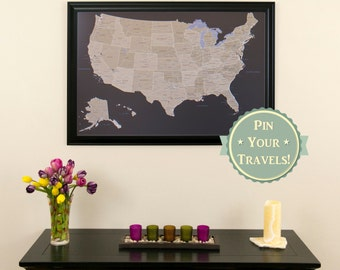"""Earth Toned US Push Pin Travel Map with Pins and Frame 24""""x36""""  - Push Pin Travel Map - Map Your US Travels - Great Gift Idea - Home Decor"""