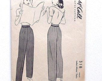 """Vintage 1942 McCall Ladies' Slacks Sewing Pattern #318 - Waist 24"""", Hips 33"""""""