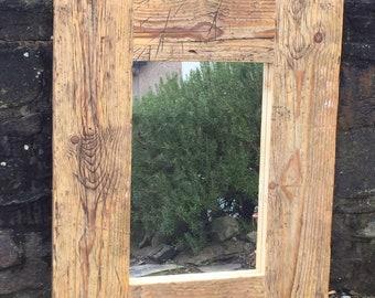 Reclaimed wooden mirror.
