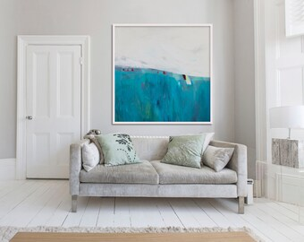"""large Gicléé PRINT of painting, blue, white, abstract print """"Lavender and Limestone"""""""
