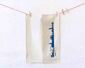 Vienna Dish Towel , blue Vienna skyline print, Vienna TeaTowel, Novelty Towel, Natural Cotton Towel, Flour Sack Towel, Vienna gift, 44spaces
