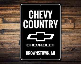 Chevy Country Sign, Chevy Logo Sign, Chevrolet Sign, Chevy Owner Gift, Custom GM Sign, Chevy Lover Gift - Quality Aluminum Sign ENS1002635
