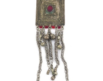 Old, vintage, antique huge silver Bedouin pendant from yemen. Free shipping worldwide.