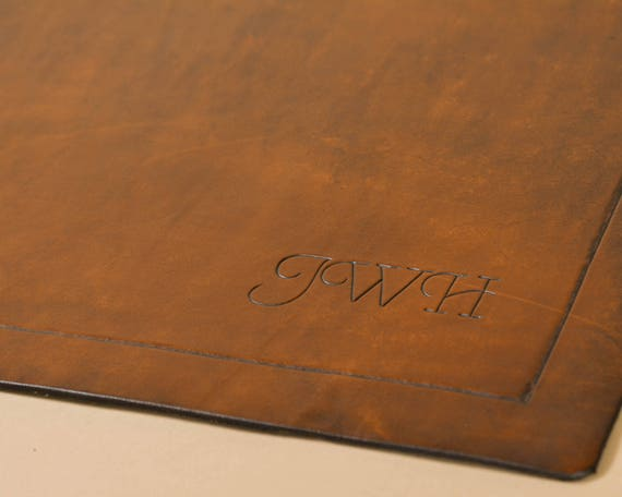 Carved Leather Initials in Chancery Style Script - Add On Item
