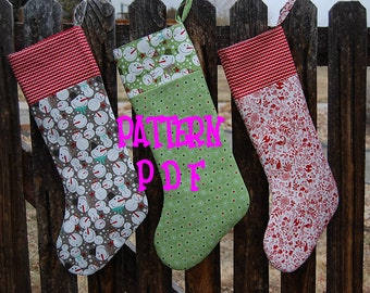 Updated Pattern Instant Download Christmas Stocking PDF- So easy, even a beginner can make this stocking - PDF sewing pattern and tutorial