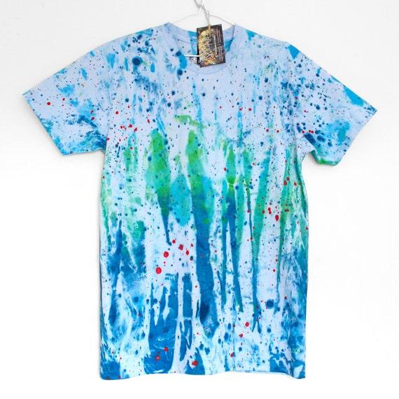 S M 2XL DREAM BLUE. 100% cotton T shirt. Hand painted. Blue tshirt. Unique t shirts. Almost tie dye. Mens t shirt. Unisex t shirts