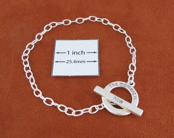 Silver Plated Metal Chain Bracelet with ''The Moment Is Now'' Toggle Clasp is ready for Dangles or Charms, A059A
