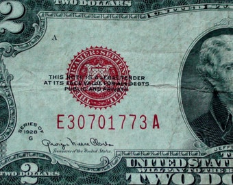 Series 1928 Big Red Seal Two 2 Dollar US Note Old Paper Money