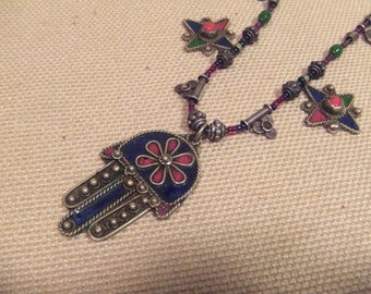 Tribal sterling silver .925  necklace  --  ethnic jewelry -- ( FREE SHIPPING SALE)