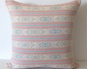 Southwestern Pastel Pink Striped 20x20 Throw Pillow Cover