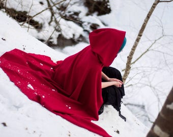 Red cloak; red cape; red riding hood; hooded cloak; fantasy clothes; medieval clothes; red hood