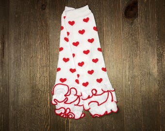 Baby leg Warmer // White and Red Hearts with ruffle // Ruffled Baby Leg Warmer // Toddler Leg Warmer // Baby Accessories // Arm Warmer