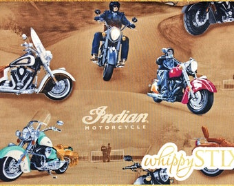 ALMOST OUT! Indian Motorcycle Fabric By the Yard, Open Road Quilting Treasures 23160, BTY Brown Biker Live to Ride Cotton Quilting Material