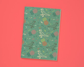 A6 notebook blank with sweet Dino & pineapple Pattern