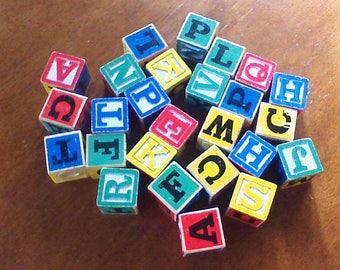 Vintage Alphabet Blocks, Lot of ABC Building Blocks, Large Alphabet Blocks, Kindergarten Wood Blocks Daycare Blocks Elementary School Blocks