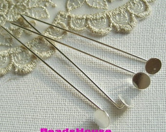 10 pcs White Silver Plated Stick- Pin With 8mm Pad -Nickel Free