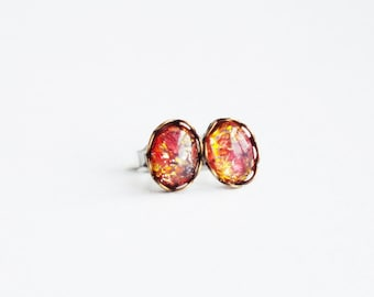 Tiny Fire Opal Studs Pink Fire Opal Earrings Vintage Pink Orange Small Post Earrings Tiny Glass Studs Eco-Friendly Jewelry