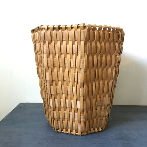 woven bamboo basket - octagon planter - rattan wastepaper basket - plant holder