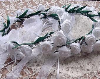 floral crown, white rose floral crown, flower crown