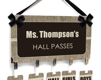 personalized teacher classroom hall passes burlap inspired,  bathroom students hall badge - CHP101
