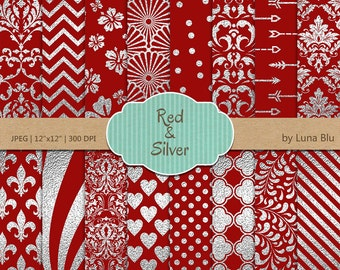 """Red and Silver Digital Paper: """"Silver Foil Patterns"""" Red digital paper, Red and silver scrapbook paper, silver digital paper, metallic"""