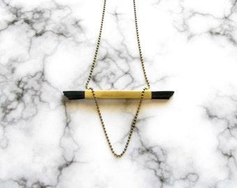 Statement Pendant Necklace -Tube-Brass Leather Necklace-Brass Tube Necklace-Brass Pendant Necklace-Modern Brass Pendant