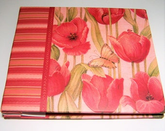 K&Company Scrap Book, Tim Coffey Design, 6 Inch Square,  Red Tulips Poppies, 40 Pages Unused 218