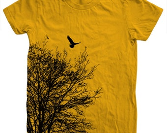 Tree T shirt Women Crew Neck Hand Screen Print American Apparel Available S, M , L, XL
