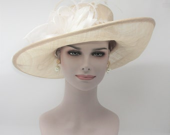 Kentucky Derby Hat, Church Hat, Wedding Hat, Easter Hat, Tea Party Hat Wide Brim Woman's Sinamay Hat (Champagne w White)