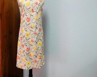 Unique Vintage Dress 1960s Linen Shift, Crewel Work Embroidery, Colorful Floral Design