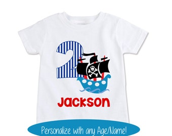 Pirates of the Caribbean, Pirate Party, Pirate Shirt, Pirate Costume, Kids Birthday Shirt, Toddler Birthday Personalize Age/Name (EX 312)