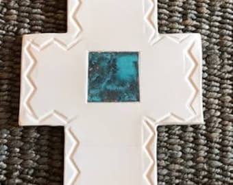 Large wall clay cross with oxidized copper detail