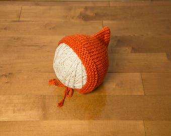 Bonnet béguin tricoté à la main, taille 0-6mois, cadeau de naissance