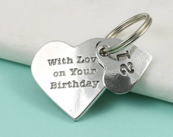 21st Birthday Gift, Birthday Gift Idea, Heart Key Ring in Pewter makes a great 21st birthday present.