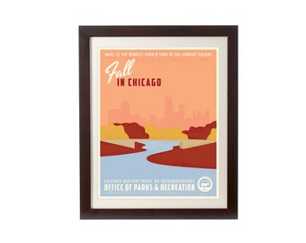 Fall in Chicago WPA-Inspired Poster