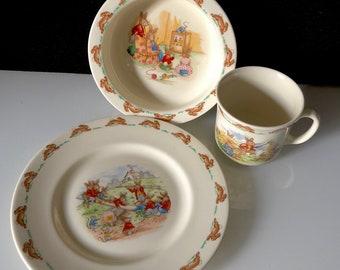 Royal Doulton Bunnykins English Fine Bone China Teacup, Cereal Bowl, Plate