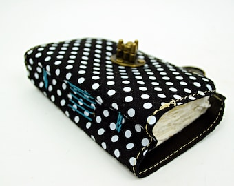 Kleine Leder Journal - Polka-Dot-Leder und Aquarell auf Papier