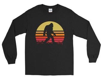 Retro Bigfoot T Shirt   Sasquatch Tee   Long Sleeve T-Shirt