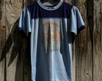 """Vintage """"Hooked on fishing"""" t-shirt 70s"""