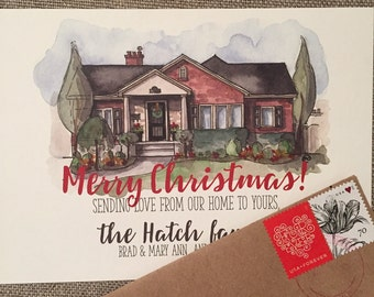 Custom Watercolor Holiday Cards