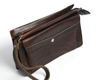 Vintage 80s Mens Wristlet Bag, Brown Artificial Leather Wrist Bag, Travel Mens Bag, 80s Men's Accessory, Phone Documents Money Cards Bag