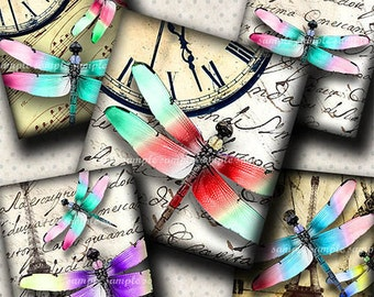INSTANT DOWNLOAD Colorful Dragonflies (499) 4x6 Digital Collage Sheet (0.75 inch x 0.83 inch) scrabble tile images for scrabble tiles ..