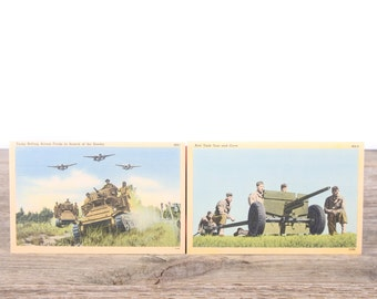 Vintage WWII Military Post Cards / MA16 Anit Tank Gun / MA1 Tanks / Old Military Collectible / US Army WW2 Military Gift Picture Art