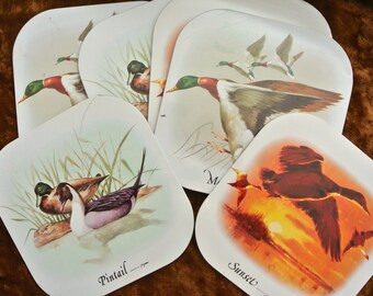 Vintage placemats - Set of 6 cork backed placemats featuring ducks