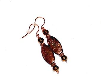 Copper Black Dangle Earrings,Copper Crystal Dangle Earrings,Copper Black Crystal Dangle Earrings,Oblong Copper Bead Dangle Earrings,Earrings