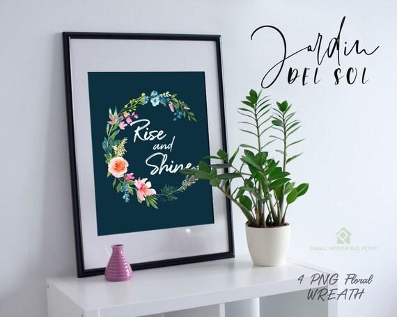 Digital Clipart- Watercolor Flower Clipart, peonies Clip art, Floral Bouquet Clipart, wedding flowers clip art- Jardin Del Sol Wreath
