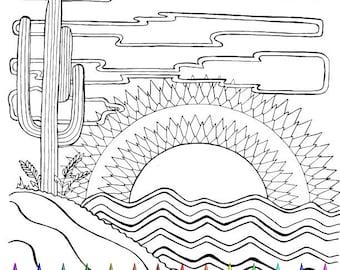 Adult Coloring Page - Desert Scene - Southwest - Cactus - Hand Drawn Image - Digital Download